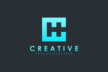 Abstract Square Initial Letter C And H Logo Negative Space. Flat Vector Logo Design Template Element.
