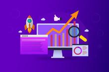 Seo Ranking Growth Digital Marketing Analysis On A Purple Background