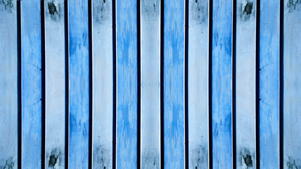 Blue painted rustic exfoliated peeled metal boards texture background