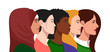 European, African American, Muslim and Asian women together concept set. International women union. Interracial feminine group. Profile portrait avatar. Vector Illustration.