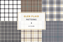 Glen And Houndstooth Seamless Patterns