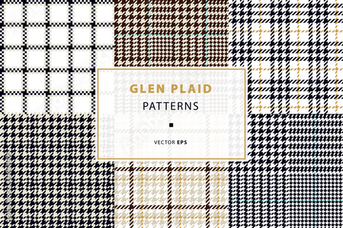 Glen and houndstooth seamless patterns Wallpaper Mural