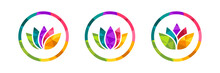 Lotus Flower Icon Set Made In ...