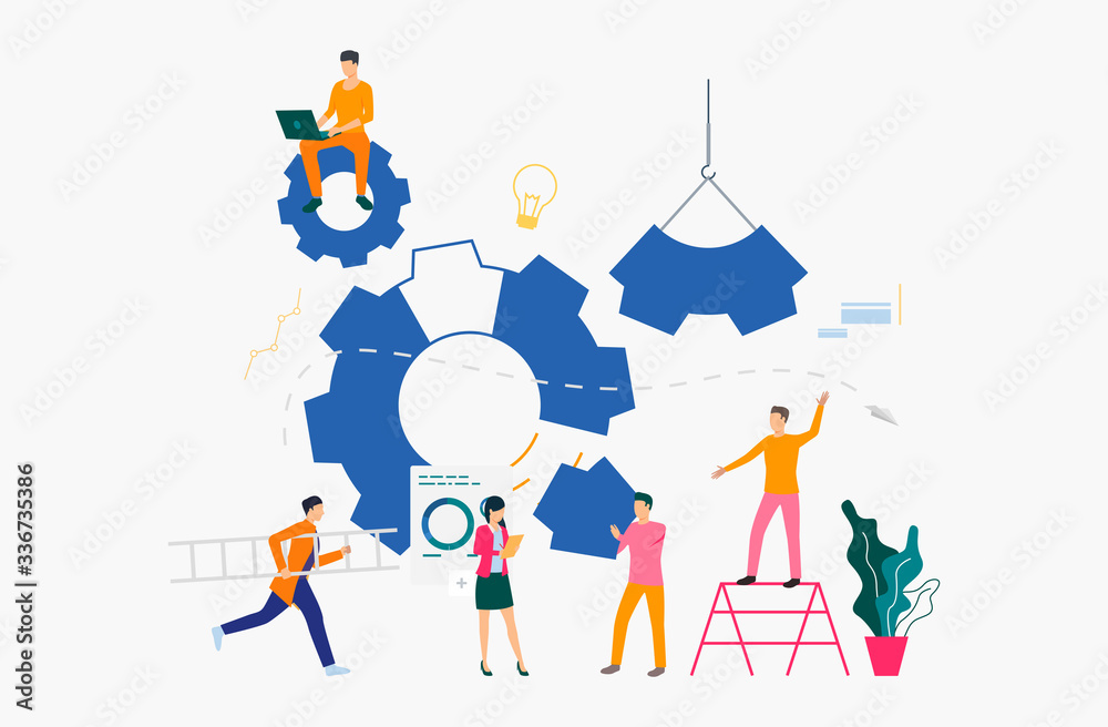 Fototapeta Cogwheels and businesspeople working among them. Business process, gear, teamwork. Management concept. Vector illustration can be used for presentation slide, posters, banners