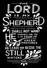Hand Lettering With Bible Verse The Lord Is My Shepherd