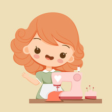Cute Girl With Sewing Machine ...