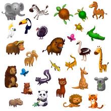Big Set Of Animals Isolated On...