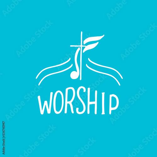 Obraz na płótnie Hand lettering christian logo Worship with cross.