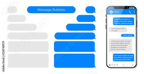 Photo Smart Phone chatting sms template bubbles