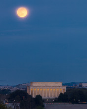 Pink Super Moon Over Lincoln Memorial On National Mall,  Washington, DC.