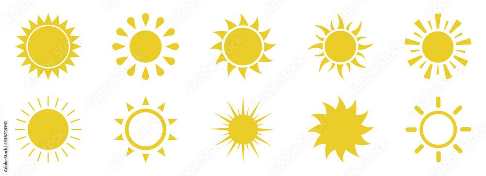 Fototapeta Sun icons set on white background.Vector illustration
