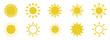 Sun icons set on white background.Vector illustration
