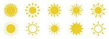 Sun Icons Set On White Backgro...