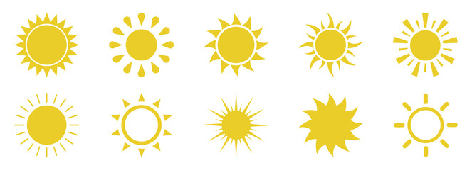 Sun icons set on white background.Vector illustration