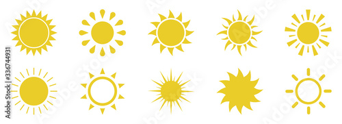 Obraz Sun icons set on white background.Vector illustration - fototapety do salonu