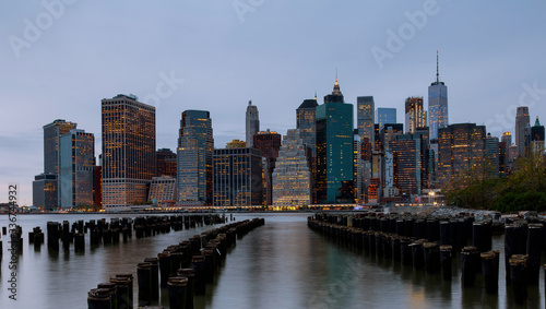 Panorama of beautiful sence of New York city with lower Manhattan in dusk evening Canvas Print