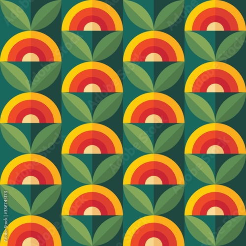 Fruits and leaves nature background. Mid-century modern art vector. Abstract geometric seamless pattern. Decorative ornament in retro vintage design flat style. Floral backdrop. - 336745173