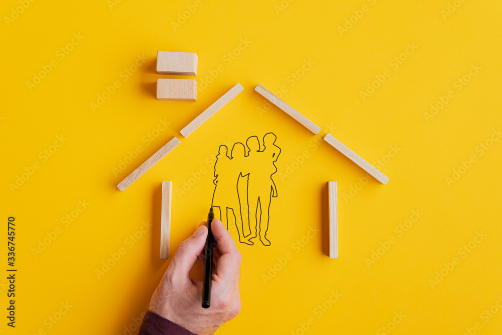 Fototapeta Home ownership and insurance conceptual image