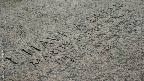 Photo Martin Luther King inscription on the steps of the Capitol Building, Washington
