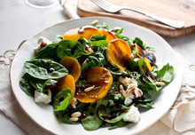 Golden Beets, Goat Cheese And Spinach