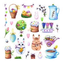Easter Set With Bunnies, Eggs ...