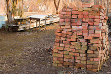 Old Red Bricks Stacked On Top ...