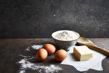 Baking Ingredients On Rustic S...