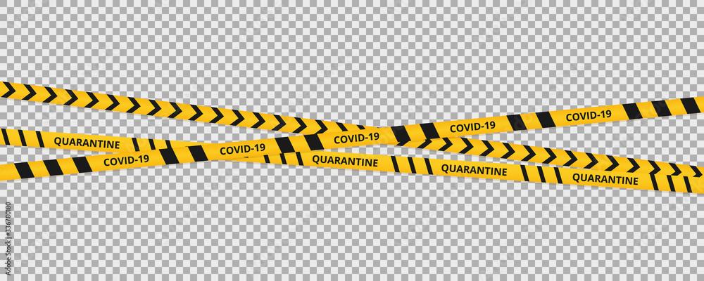 Fototapeta Quarantine coronavirus tape border background. Warning coronavirus quarantine yellow and black stripes.