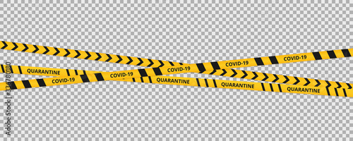 Obraz Quarantine coronavirus tape border background. Warning coronavirus quarantine yellow and black stripes. - fototapety do salonu