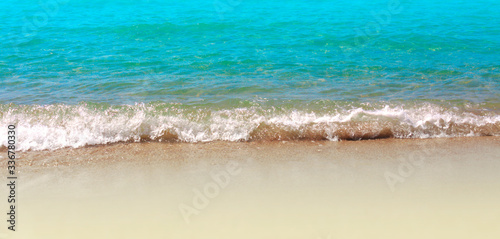 Blue sea wave sand beach. Horizontal nature background. Wallpaper Mural