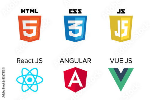 Fototapeta vector collection of web development shield signs: html5, css3, javascript, react js, angular and vue js.	 obraz