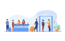 Tourists With Luggage Waiting At Hotel Reception Desk, Walking Through Lobby To Elevator. Receptionists Welcoming Guests At Counter. Vector Illustration For Hotel Business, Hospitality, Travel Concept