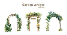 Set Of Watercolor Garden Arche...