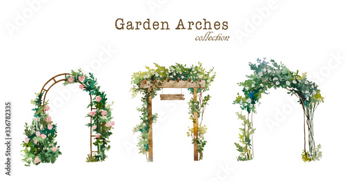 Fotografiet Set of watercolor garden arches with blooming white and pink roses