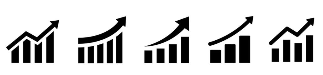 Growing graph set. Business chart with arrow. Growths chart collection. Profit growing sumbol. Progress bar. Bar diagram. Growth success arrow icon. Progress symbol. Chart increase - stock vector.