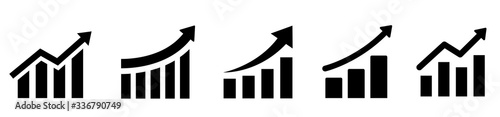 Fototapeta Growing graph set. Business chart with arrow. Growths chart collection. Profit growing sumbol. Progress bar. Bar diagram. Growth success arrow icon. Progress symbol. Chart increase - stock vector. obraz