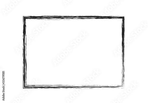 grunge brush stroke rectangle frame. black painted vector design Fototapet