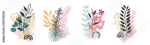 Obraz Set abstract floral background isolated on white. Vector hand draw - fototapety do salonu
