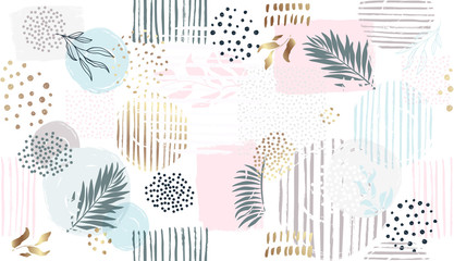 Fototapeta Liście Seamless floral pattern. Vector hand draw