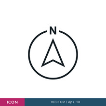 North Direction Arrow Compass Icon Vector Design Template