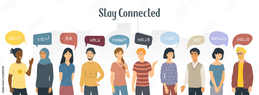 Fototapeta Stay connected. Social Network concept. Multiethnic people saying hello in different languages. Vector illustration