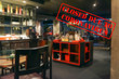 Defocused view of interior of an upmarket restaurant, empty and closed due to coronavirus or covid 19