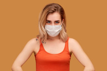 Woman Wears Protective White M...