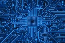 Modern Technology. Blue Comput...