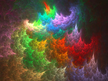 Abstract Fractal Art Background Illustration Space Geometry. Background Consists Fractal Multicolor Texture