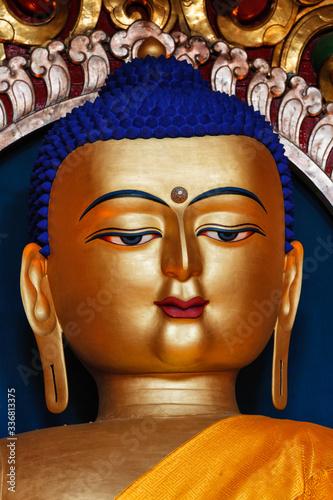 Obraz na plátně Gilded statue of Sakyamuni Buddha in Tsuglagkhang temple