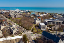 EVANSTON, IL - APRIL 3, 2020: On A Normally Busy School Day, An Aerial View Shows The Campus Of Northwestern University Shut Down Due To The COVID-19 Pandemic.