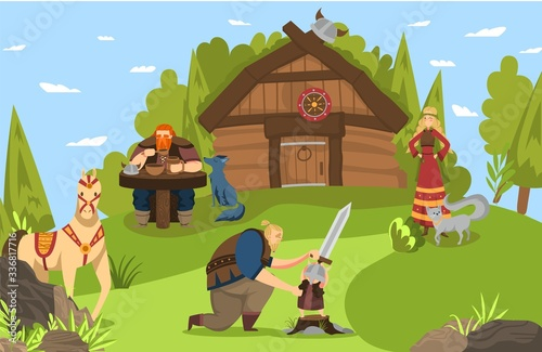Fotografia Vikings and scandinavian warriors family and house lifestyle cartoon vector illustration from Scandinavia history mythology comic art