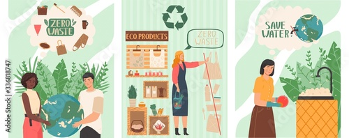 Zero waste lifestyle, people save planet by refusing to buy plastic products, vector illustration. Man and woman environment activist, set of banners. Earth protection, consumption choice awareness