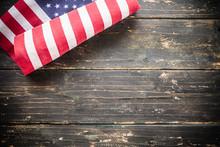 American Flag Vintage Wooden Background